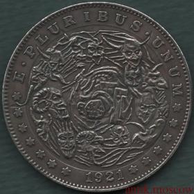 Копия серебряного доллара США 1921 года Пороки