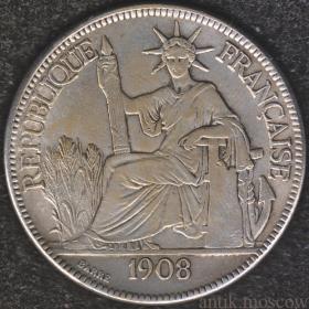 1 пиастр Индокитай Франция 1908 год