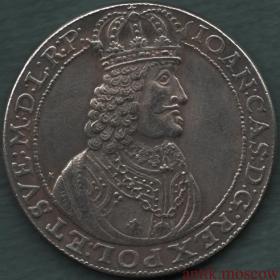 Талер 1659 года Польша Казимир - копия серебряной монеты