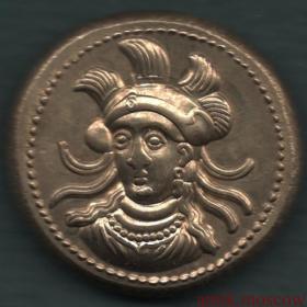Античная монета Император на троне с копьем