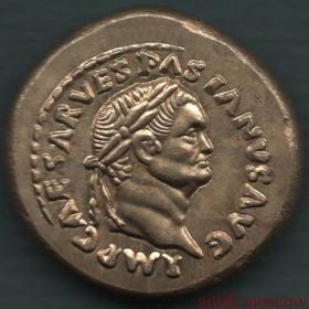 Копия золотой античной монеты Правитель в лавровом венке