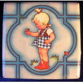 Коробка жестяная 30-х годов Девочка