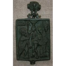 Икона-энколпия Крещение, Рождество Христово 15-16 век