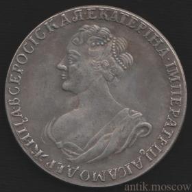 Рубль 1725 года царицы Екатерины 1 Тип 2